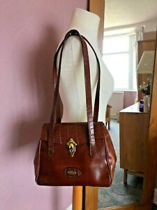 El Campero Beautiful Vintage Brown Leather Satchel Style Shoulder Bag