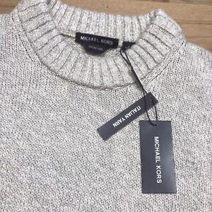 Michael Kors Mens Sweater Italian Yarn $398 Holiday Sz Large Tan Beige Rare Neck