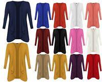 Ladies Women's Hanky Hem Long Sleeve Top Waterfall Open Cardigan UK Plus Size