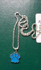 Bijoux NEUF Fantaisie : Collier pendentif patte de chien bleu