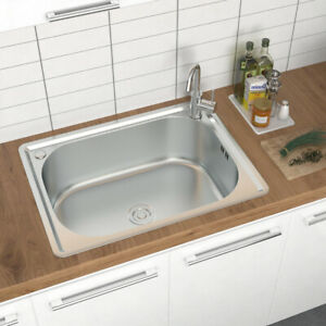 Stainless Steel Kitchen Single Bowl Inset Sink Commercial Laundry Topmount Wash