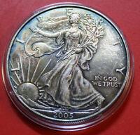 "Amerika 1 Uz.-Oz ""Silver Eagle""  2005 ST-BU  #F3867 Walking Liberty Toning"