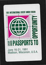 1991 International Credit Union Madison WI playing card single JOKER - 1 card