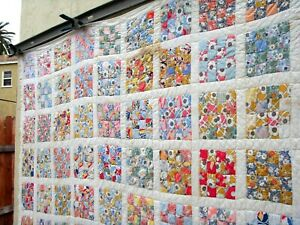 Vintage 30's 40's Sixteen Patch or Four Patch Quilt for Cutter Hand stitched