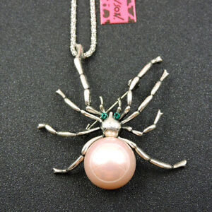 Betsey Johnson Pink Enamel Crystal Cute Spider Pendant Sweater Chain Necklace