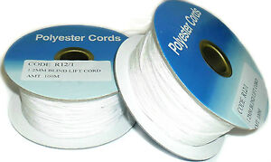 WHITE POLYESTER BLIND LIFT CORD, 1.2MM, CHOOSE LENGTH, CODE R12/1, FREE P&P