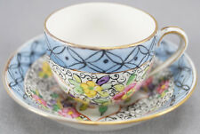 PL Limoges Sevres Style Hand Painted Islamic Floral Miniature Cup & Saucer