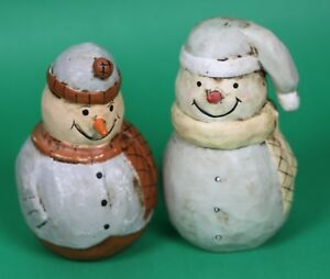 Set Of 2 Christmas Round Snowman Decoration Ornament Hand Made Of Wood