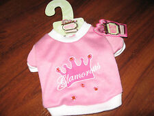 NEW WOOF STREET Boutique Pink w/Crown &Bling GLAMOROUS Pet Sweat Shirt on Hanger