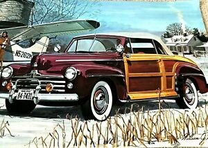 """""""1948 FORD WOODY COUPE"""" Large Size Poster Art Print (23"""" x 12"""") William J Sims"""