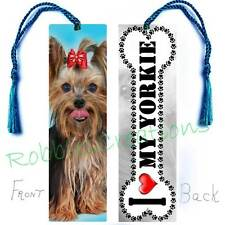 YORKIE Large BOOKMARK w/TASSEL Dog BONE Shape I LOVE MY Yorkshire Terrier CARD