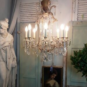 Prächtige große DECKENLAMPE Kristalllüster lustre a cage, Rokoko, Louis XVI
