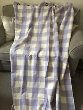 Bespoke Laura Ashley Lilac Falmouth Check Curtains Eyelet Heading W 136 L 216 Cm