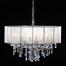 Gorgeous Shallow Eight Arm Chrome Frame Crystal Chandelier With White Shade