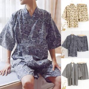 2PCS Men's Summer Kimono Yukata Japanese Retro Bathrobe Shorts Suits Sleepwear
