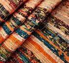 Indian chindi vintage rag rug hand loomed runner throw striped hand woven carpet