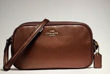 COACH NWT CROSSBODY POUCH PEBBLE LEATHER SADDLE BROWN 2 ZIPPERED SECTIONS F65988