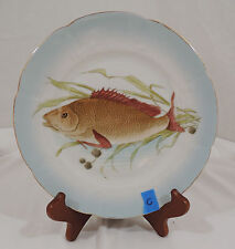Vintage FISH PATTERN by Carlsbad Scalloped Blue Gold Trim Embossed Salad Plate C