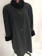 Albert Nipon size XL Long 100% Wool Coat winter jacket Black Fur full length