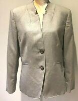 Tahari Arthur S. Levine Blazer Suit Jacket Size 14  Tan Stripe Collarless