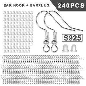 120x 925 Sterling Silver Earring Wires Hooks Kit DIY Jewellery Accessories US
