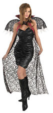 Cape Red Black Lace With Wings Gothic Vampire Costume Adult Womens Fancy Dress