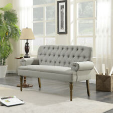 Vintage Loveseat Sofa Settee Couch Bench with Wood Legs Button Tufted, Gray