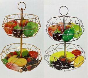2 Tier Fruit Basket With Handle Holder Rack Vegetable Bowl Storage Stand Dining