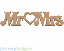 """MR heart MRS joined Letters 6"""" (15cm) in 18mm MDF - Wooden Wedding Plaque"""