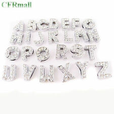 130pcs 5sets Letter A-Z Slider Rhinestone Beads Fit 10mm Belt charm Bracelets