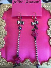 Betsey Johnson Vampire Slayer Black Pearl Pink Rose Crystal Mismatch Earrings