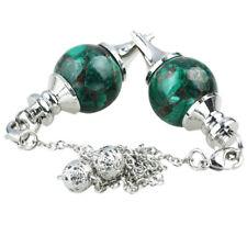 Malachite Gemstone Pendulum +Chain Fit Dowsing Divination Healing Reiki Therapy
