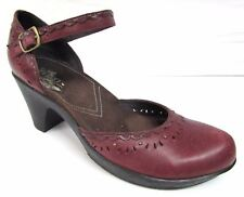 Clarks Indigo red pumps shoes women's size 8 B leather high heel ankle strap