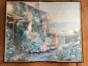 Arthur Wilkinson - Cottage Garden with Girl by the Gate - Vintage PRINT framed