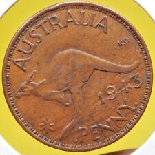Australia 1943 B Penny AU to UNC w/ LAMINATION ERROR Must-See BETTER DATE Coin!