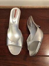 Prada Silver Metalic Leather Open Toe Sandals Size 40