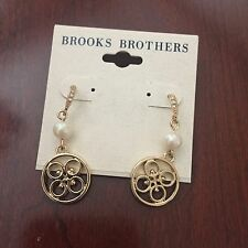 """Brooks Brothers Earrings - 1.5"""" Drop Earrings With Pearl And Diamond Like Stones"""