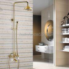 Polished Gold Brass Bath Rain Shower head Brass Mixer Valve Faucet Set lgf363