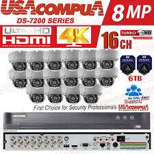 Hikvision 16Ch 5MP Kit sistema de seguridad 4K al aire libre CCTV Domo 6TB HDD 4K-UHD
