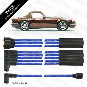 V8 8mm Blue HT Leads Performance Double Silicone leads TVR Rover V8 etc