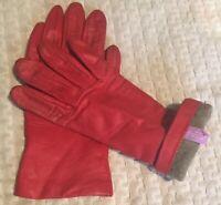 VTG Grandoe Rouge Red SOFT Leather 100% Cashmere Lined Winter Gloves Size 6 1/2