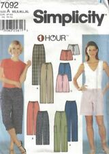 Misses Pants or Shorts in 2 Lengths Simplicity 7092 Size XS - XL 1 Hour Pattern