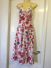 VOK Size 8 100% Cotton Red White Grey Floral Baby Doll Dress Swing Skirt # 642