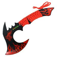 "11"" Black/ Red Combat Full Tang Tactical Throwing Knife Axe Hatchet Dragon"