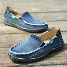 Men Blue Flats Soft Comfort Canvas Driving Boat Shoes Slip On Denim Loafers Sz