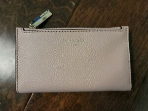 New Women's KATE SPADE Dark Beige Jackson Slim Bifold Leather Wallet