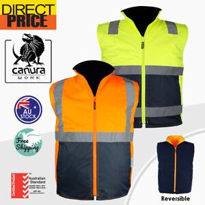 Hi Vis Vests Warm Reversible Vest Safety Work Wear Reverse Polar Fleece Tapes