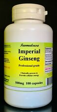 Imperial Ginseng 500mg, Panax, aphrodisiac, stamina - 100 Capsules. Made in USA.