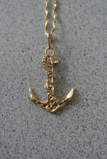 "Vintage 14K Yellow Gold Anchor Pendant Charm w. 20"" Chain Necklace 5.1 gr."