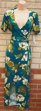 BLEUH CIEL GREEN FLORAL SHORT SLEEVE WRAP BELTED SIDE MIDI SOFT TEA DRESS 12 14